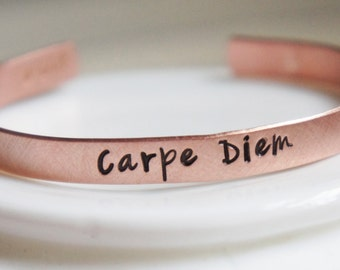 Cuff Bracelet Personalized Copper Carpe Diem Custom Quote Phrase Bangle