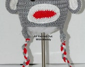 Handmade Crochet Gray Monkey Hat
