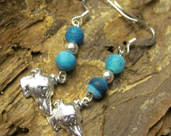 Blue Dragon Agate Greyhound Earrings Benefit Sale
