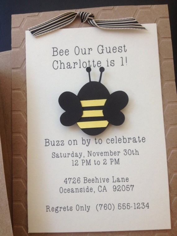 bumble bee handmade invitations custom made for by simpleandposh