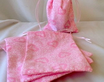 Pink Hearts and Flowers 8 Mini Fabric Small Gift Bags, Party Favors, Bridal Shower, Couples Party, Reusable, Upcycled