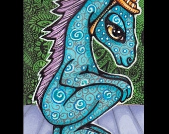 ACEO Blue Dragon Original Art Card in Ink