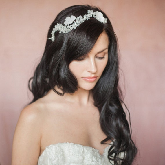 Celie Bridal Wedding Floral Crystal Headband