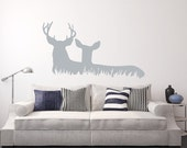Deer Wall Decal - Deer in Grass Style C Vinyl Wall Decal - Woodland Hunting Decor 22328