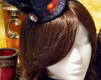 Alice Tea Party Steampunk Micro Top Hat on hairband or hairclip.  Costume, Cosplay, Wedding, Anime, Kawaii