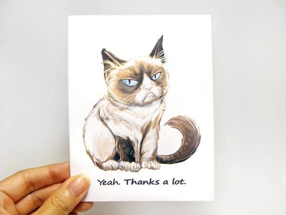 Funny Thank You Cat Memes : Grumpy cat card thank you funny greeting by