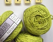 Cotton yarn, hand dyed yarn, lime green, double knit DK