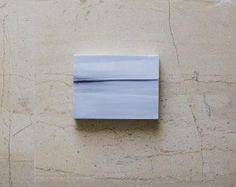 Small Abstract Art -- Original Painting Ready to hang - Grey - Greek Sea Memento
