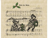 Deck the Halls music Christmas sled holly instant Digital download image transfer for iron on fabric burlap decoupage tote pillow No. 415
