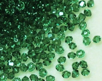 3mm Swarovski Crystal Bicones Green Turmaline 48 pcs