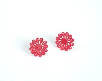 Red Lace Flower Stud Earrings