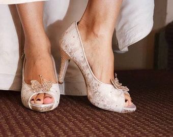 Butterfly Wedding Shoes Lace Champagne Custom