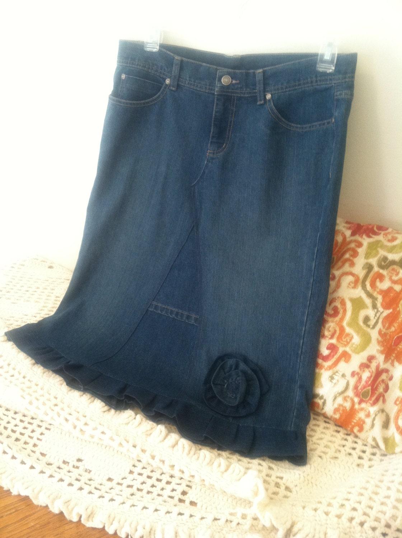 jean skirt below knee ruffle denim flower