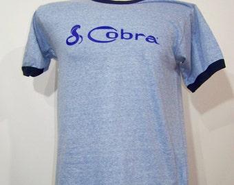 Vintage 80s T Shirt Cobra Mustang Screen Stars Tee Ringer Large L Medium M Light Blue 1980s GI Joe