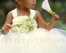 Ivory, Green Flower Girl Tutu Dress