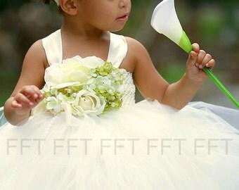 Ivory, Green Flower Girl Tutu Dress