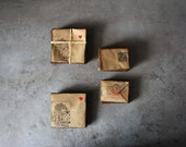 Rustic craft supplies  Craft mini envelopes set of 30, hand stamped with Alice in Wonderland pictures, vintage look, ink postal stamps