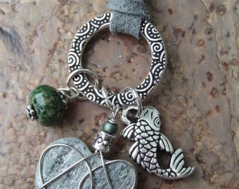 Stone Silver Charm Necklace with Moss Green Gemstone and Koi Fish Charm