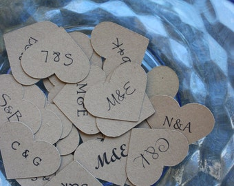 Heart Confetti for Wedding Favors, Invitations, or Your Wedding Table Customized with Initials in 1 inch - 500