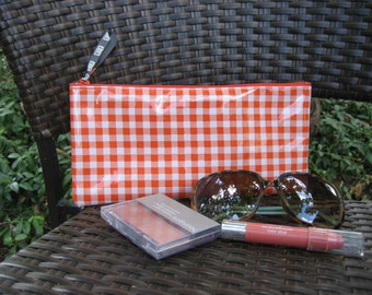 Zippered Oil Cloth Pouch-Orange Gingham Check Cosmetic Bag--Purse Organizer--Pencil pouch