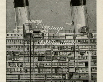 Antique Print, 1940s Queen Mary Ship, wall art vintage b/w lithograph steam ship chart illustration