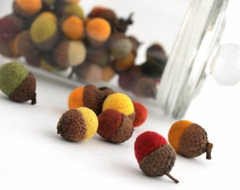 Bulk Acorns Table Decoration. Wool Felt Ball Acorns. Fall Acorns. Autumn leaf colors.