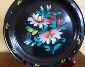 Russian/USSR BLACK ENAMEL/Plate/HandPainted/Vintage/Blue Red Floral Design