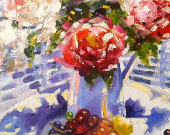 LATE HARVEST GRAPES Art Print of Original Oil Painting, blue pitcher and roses