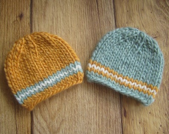 Newborn Sunshine Yellow and Light Blue Chunky Wool Knit Beanies  - Boy Twin Set - Made to Order Photography Prop, RTS Photo Prop