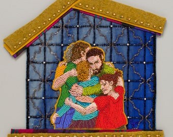 Family -from  the Meanings of HOME collection of bead and fiber art