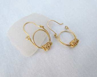 Gypsy Hoop Hinged Earrings. Artisan Tribal Earrings. Wire Wrapped Ethnic Hoop Earrings. Gold Hoops. Everyday Minimal jewelry. Gift For Her