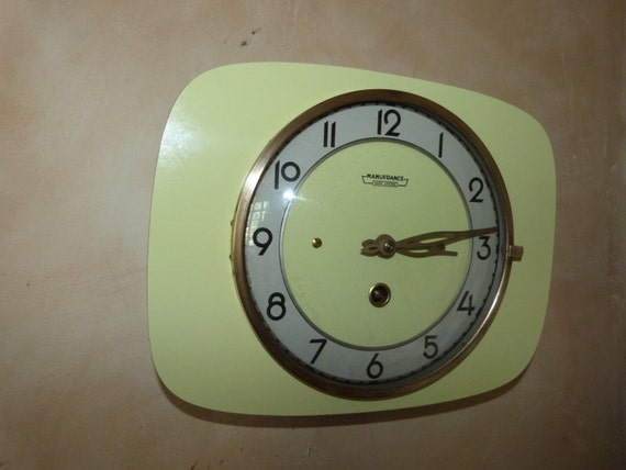 Vintage French Wall Clock Yellow Retro Wall Clock Retro