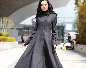 Dark Grey Coat Big Sweep High Collar Women Wool Winter Coat Long Jacket Tunic / Fast Shipping - NC499