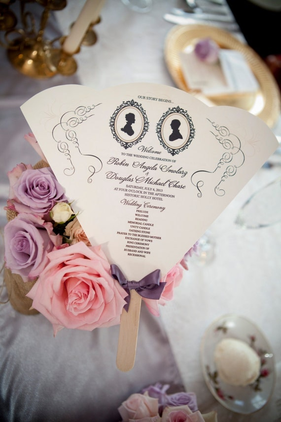 SET OF 25+ Vintage Silhouette Design Wedding Program Fan custom colors available