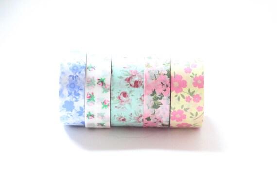 Floral Washi Tape lot de 5 rouleaux colorés de jolies fleurs WashiTape