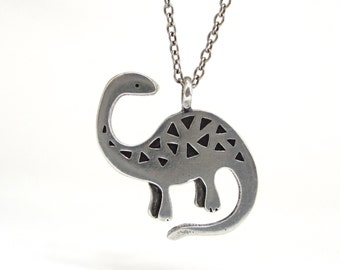 Apatosaurus  Dinosaur Necklace with Geometric Pattern - Pewter Brontosaurus Pendant