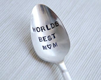 World Best Mom -  Hand Stamped Mothers Spoon - Mothers Day - Gift for your mom - mothers day under 25,