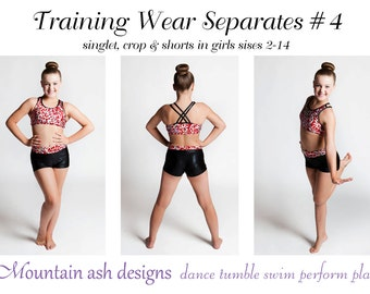 Gymnastics Pattern Training Wear Separates 4 crop singlet tank yoga shorts gymnastics dance crossover back straps