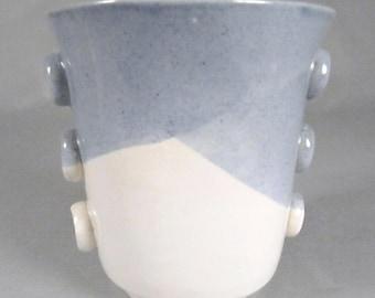 Hazel Johnson Hannell, Midcentury Modern Studio Pottery, Rare, Porcelain Cup, Vase, Listed Chicago Artist, Corn Powder Blue