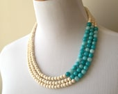 Teal and Cream Color Blocked Triple Strand Necklace - Teal and Cream Triple Strand Necklace - Stone and Bamboo Statement - Bianca Collection