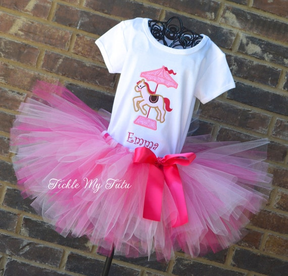 Carousel Pony Birthday Tutu Outfit, Pink Carousel Pony Tutu Set, Carnival Party Tutu Set, Circus Party Tutu Outfit
