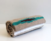 Vintage Woven Tribal Style Blanket in Browns, White and Turquoise