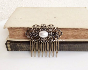 Pearl Hair Comb Wedding Hair Accessories Vintage Inspired Hair Slide Bridesmaids Bridal Hair Comb Antique Style Pearl Pin Woodland WR