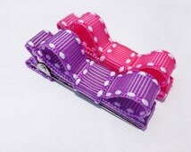 2 small hair bows--neon hot pink and prple saddle stich hair bows--infant baby girls--small clip barrettes