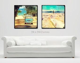 Surf Art, Canvas Wall Art Surfer Art, Surfing Art, Retro Beach Canvas Art VW Bus, Surfboards, Large Canvas, Home Decor