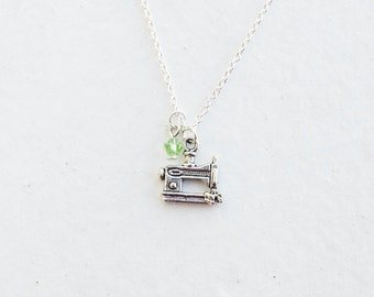 Sewing Machine Necklace- Custom Birthstone- Charm- 925 Sterling Silver Chain - DIY Hobby Unique Jewelry - Industrial Craft - Under 20 - Lov