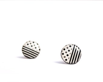 black and white post earrings black studs white studs funky stud earrings black earrings white earrings rockabilly earrings pin up 16mm