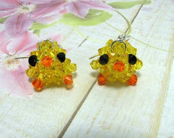 Yellow Baby Chick Earrings, Easter Earrings, Swarovski Earrings, Holiday Earrings, Baby Chick Earrings, Dangle Earrings, Easter Jewelry