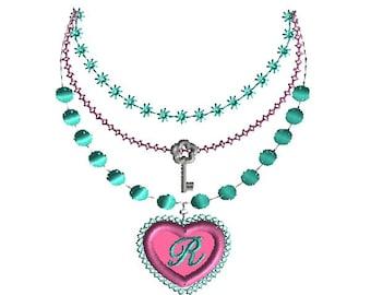 Necklace Heart Pendant Applique Machine Embroidery Design-INSTANT DOWNLOAD