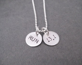 RUN 13.1 Sterling Silver 2 Disc Half Marathon Necklace - Choose 16, 18 or 20 inch Sterling Silver Ball Chain - Running Jewelry - 13.1
